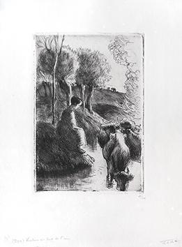 Gravure originale de  : Vachère au bord de l'eau