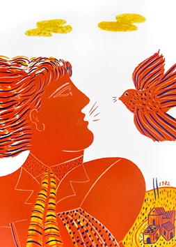 Fassianos Alekos : Original signed lithograph : Profil à l'oiseau