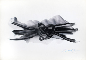 Original acrylic on paper de Benrath Frédéric : Black knot