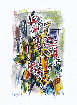 Lithographie originale signée de  : Le saxophoniste
