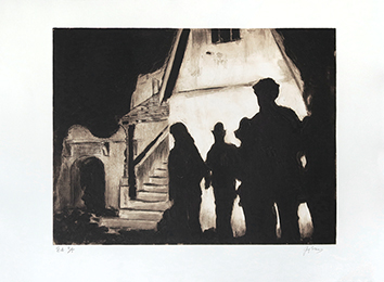 Original signed aquatint de Braun Guy : La poursuite