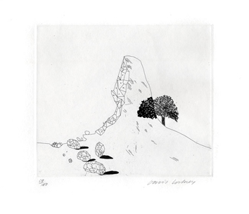 Signed etching de  : The glass mountain shattered