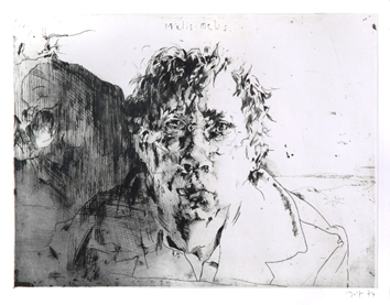 Janssen Horst : Original signed etching : Melis-Melis, self-portrait