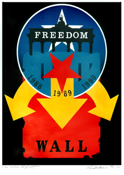 Lithographie originale de Indiana Robert : The wall, freedom