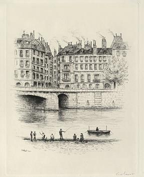 Gravure originale signée de  : Le Promeneur accompagné, Planche n°8, Le Pêcheur à la l