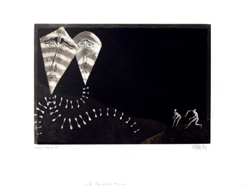 Original signed etching de  : Captive kites
