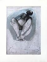 Gravure originale signée de  : Femme assise