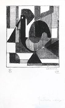 Litografia originale firmata de  : Le coq