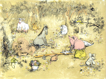 Lithographie originale signée de Searle Ronald : The peaceable king down