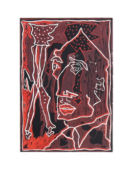 Original signed linocut de  : Le motif raisonnable