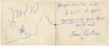 Cocteau Jean : Dessin : Profil