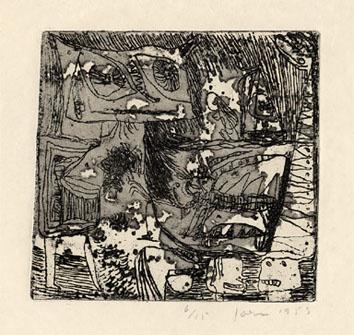 Jorn Asger : Gravure signée : Passion lugubre