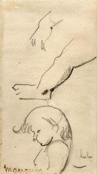 Manguin Henri : Dibujo original : Estudio de ni�o