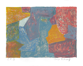 Poliakoff Serge : Lithographie signée : Composition jaune, rouge, grise