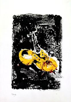 Rebeyrolle Paul : Lithographie originale : Cloué au sol