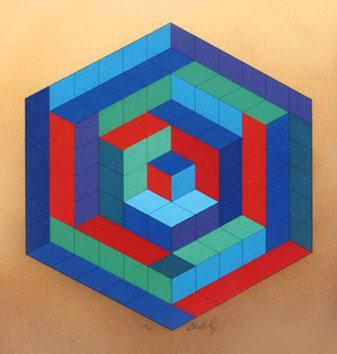 Vasarely Victor : Sérigraphie : VIII Sin-Hat-A