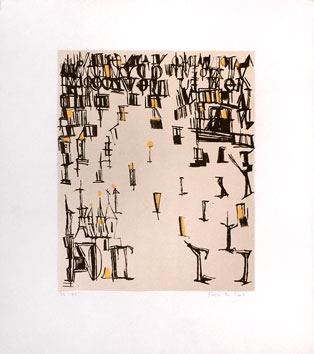 Vieira Da Silva : Lithographie originale : Les piétons de Noël