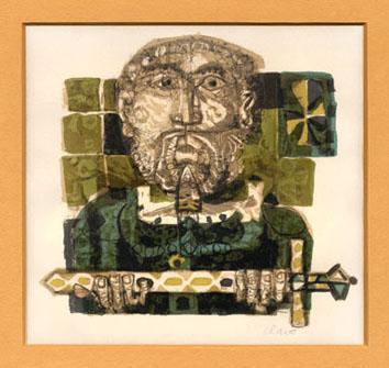 Clavé Antoni : Lithographie originale signée : Roi