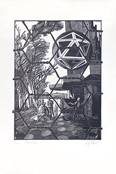 Bois gravé original signé de  : Icosaèdre