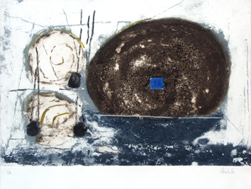 Original signed etching de  : The blue square