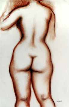 Original signed drawing de  : Study of a nude V