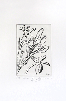Original signed drypoint de Mounic Anne : Iris