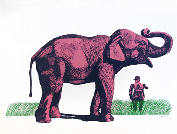 Original signed screenprint de  : Elephant and General