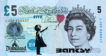 Document imprimé de  : Billet de 5 £ « Banksy Dismaland »