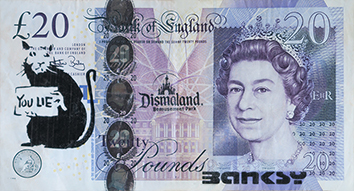 Document imprimé de  : Billet de 20 £ « Banksy Dismaland »