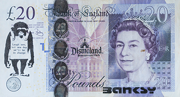 Document imprimé de  : Billet de 20 £ « Banksy Dismaland » III
