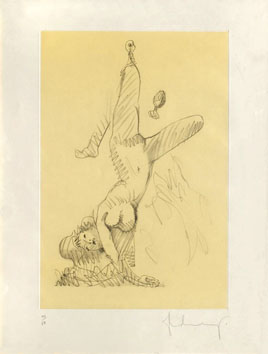 Gravure originale signée de  : Woman Hanging in Imitation of the Soft (A)