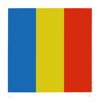 Signierte Originallithographie de  : Blue, Yellow, Red
