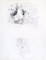 Drawing in pencil de Kupka Frantisek : Studies drawing the Faune de Mallarmé