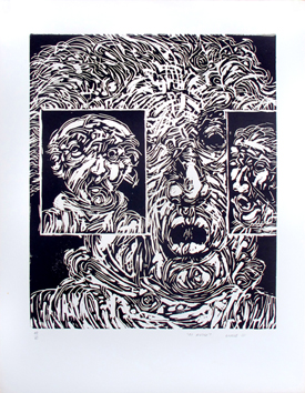 Original signed linocut de  : The others