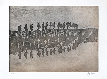 Original signed aquatint de Braun Guy : La marche de nuit