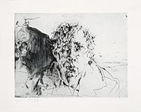 Gravure eau-forte signée de  : Melis-Melis, autoportrait