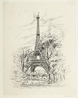 Signierte originale Radierung de  : Le Promeneur accompagné, Planche n°5, La Tour Eiffel