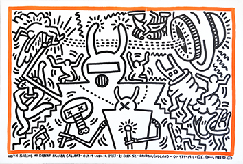 Lithographieplakat de  : Keith Haring at Robert Fraser Gallery