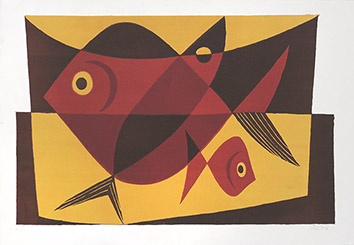 Original signed lithograph de Gischia Léon : Fishes