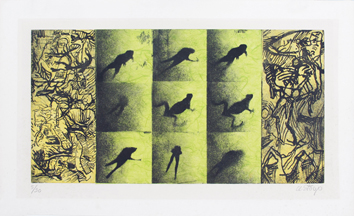 Original signed aquatint de  : Jump of frogs