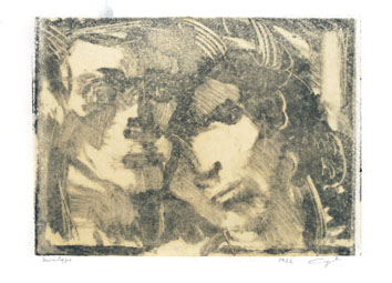 Monotype original signé de Cayol Pierre : Couple