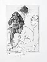 Gravure originale signée de  : L'ironie du singe