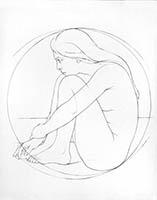 Gravure originale de  : Femme dans un cercle
