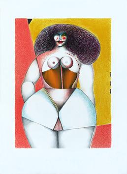 Lithographie originale de  : Femme sur fond jaune, Planche 2