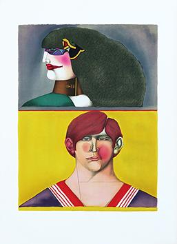 Lithographie originale de  : Front and Profil, Planche 7