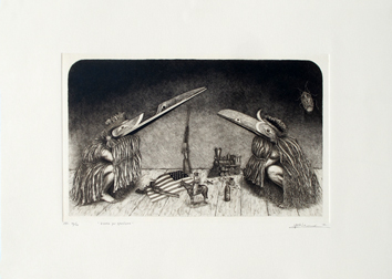 Original signed drypoint de Elvieri Vladimiro : Dance for exorcism