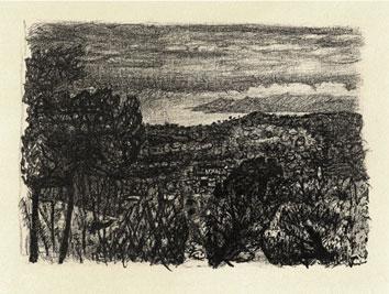 Bonnard Pierre : Lithographie originale : La nuit tombe