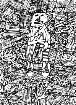 Dubuffet Jean : Dessin original : Paysage avec personnage