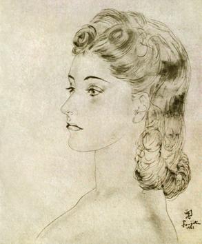 Foujita Léonard : Original signed drawing : Profile