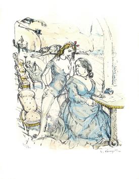 Foujita Léonard : Lithographie originale signée : Femmes